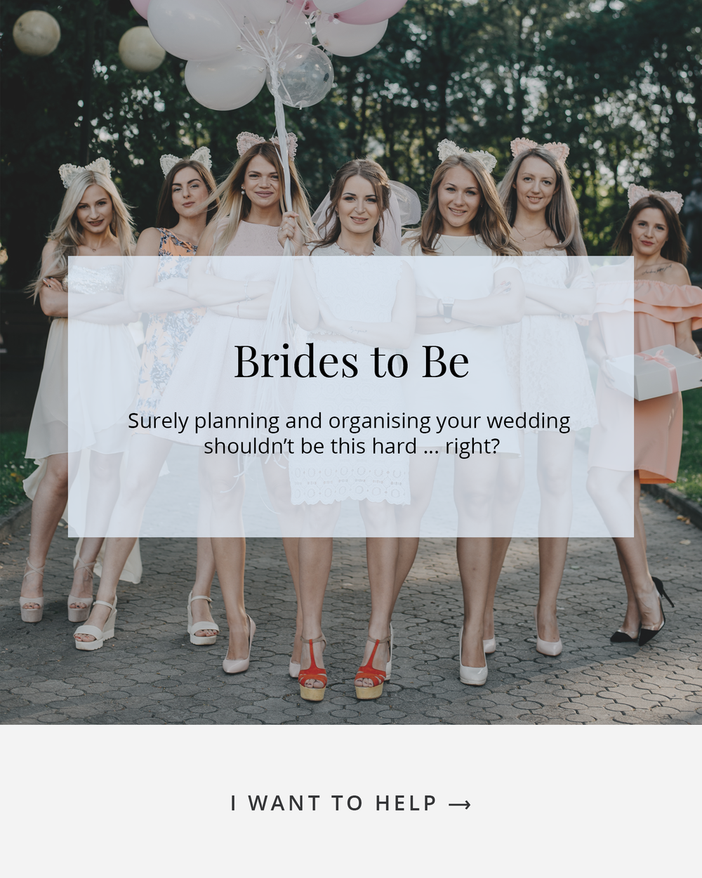 Bride holding pink balloons with her six bridemaids beside her - bride tribe - surely planning your wedding shouldn't be this hard, I want to help
