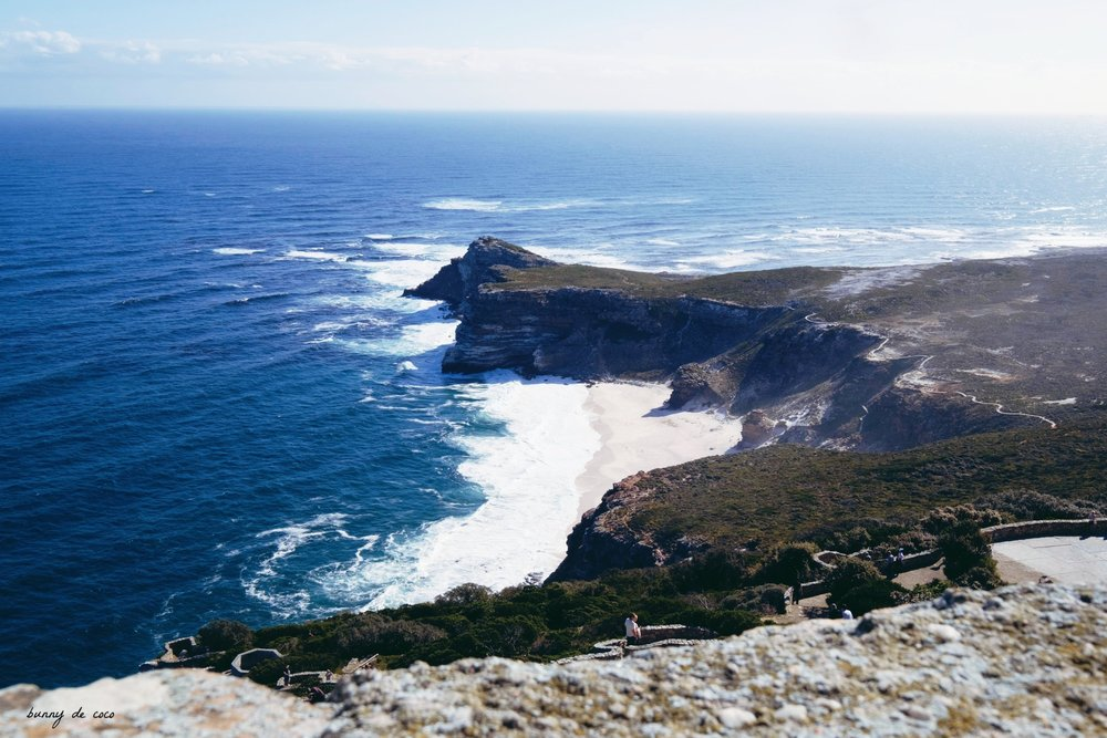 The view from Cape Point, of the Cape of Good Hope.