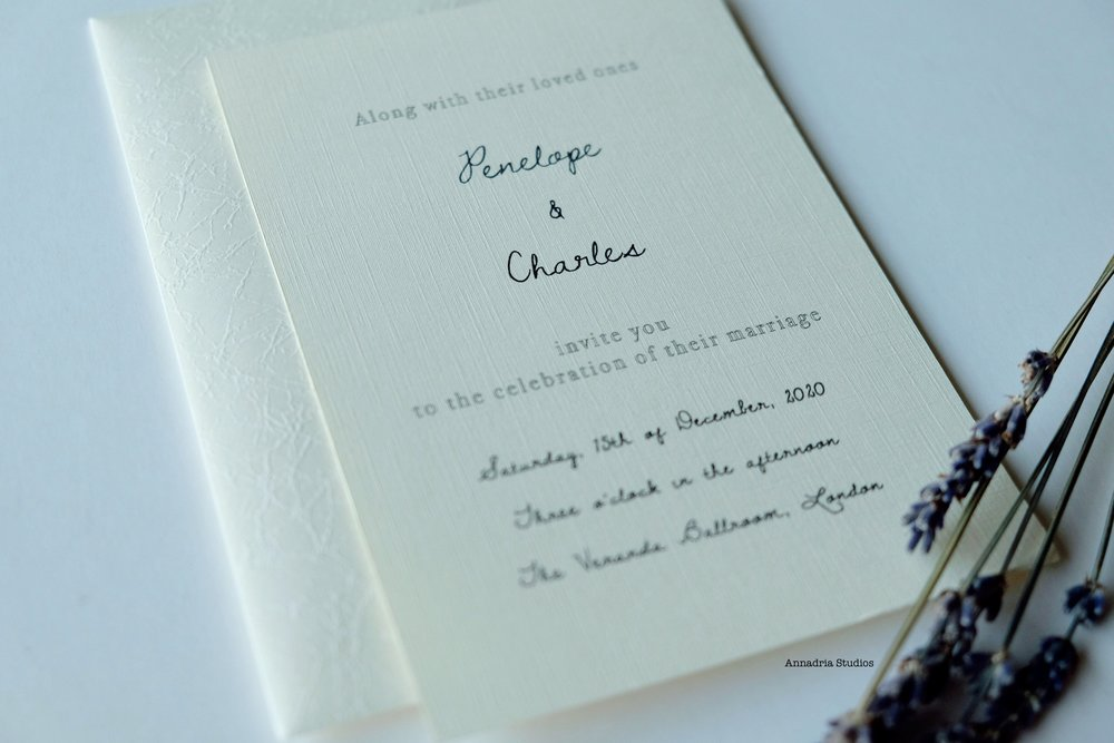 Modern classic invitations designed by  Annadria Studios