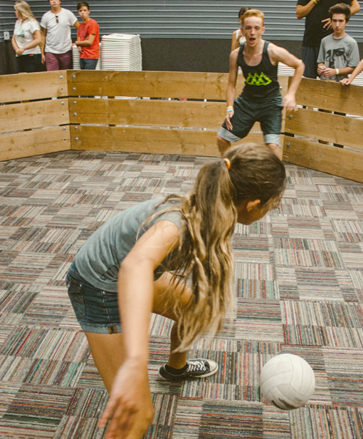 Gagaball - What in the world?What's that you ask? Only the newest game craze all over America.  You have to experience it to understand.  Luckily for you, we have 2 gaga ball arenas set up on campus (yes- with air conditioning) Come and join a game, or bring a group of friends to play against each other.  If you've played- you know how amazing it is and we'll see you there! If you haven't- come check it out and see what it's all about!