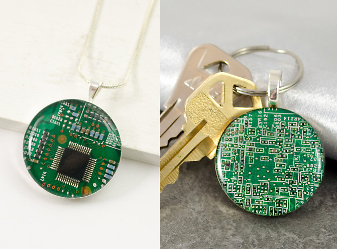 Donate at the $60 level and receive your choice of these two awesome recycled circuit board pieces.