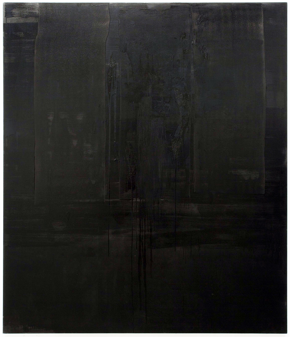 Untitled black monochrome painting (1.10.PBk9.CI77267/PBk11.Fe3O4) from the Frequency10. series. Oil, grit, graphite on canvas, 213.36cm x 182.88cm (84 inches x 72 inches), 2016-2017.