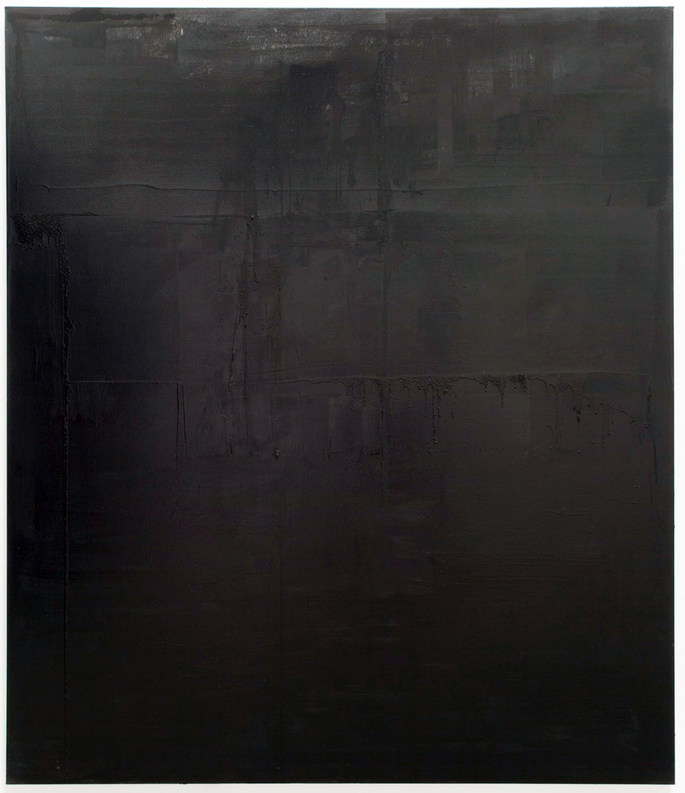 Untitled black monochrome painting (2.10.PBk9.CI77267/PBk11.Fe3O4) from the Frequency10. series. Oil, grit, graphite on canvas, 213.36cm x 182.88cm (84 inches x 72 inches), 2016-2017.