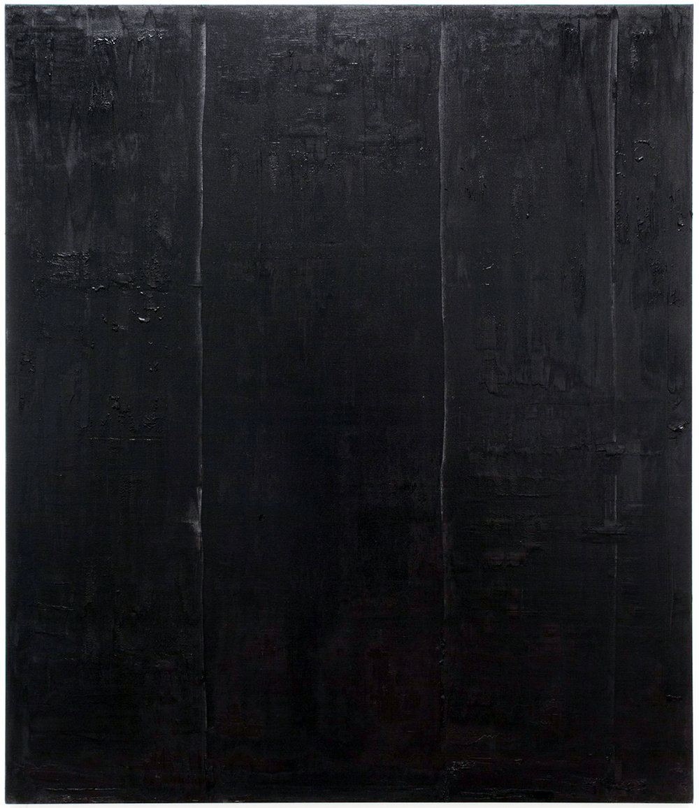 Untitled black pigment painting (9.10.PBk9.CI77267/PBk11.Fe3O4) from the Frequency10. series. Oil, grit, graphite on canvas, 213.36cm x 182.88cm (84 inches x 72 inches), 2016-2017.