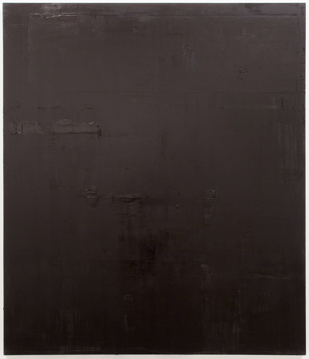 Untitled black pigment painting (4.10.PBk9.CI77267/PBk11.Fe3O4) from the Frequency10. series. Oil, grit, graphite on canvas, 213.36cm x 182.88cm (84 inches x 72 inches), 2016-2017.