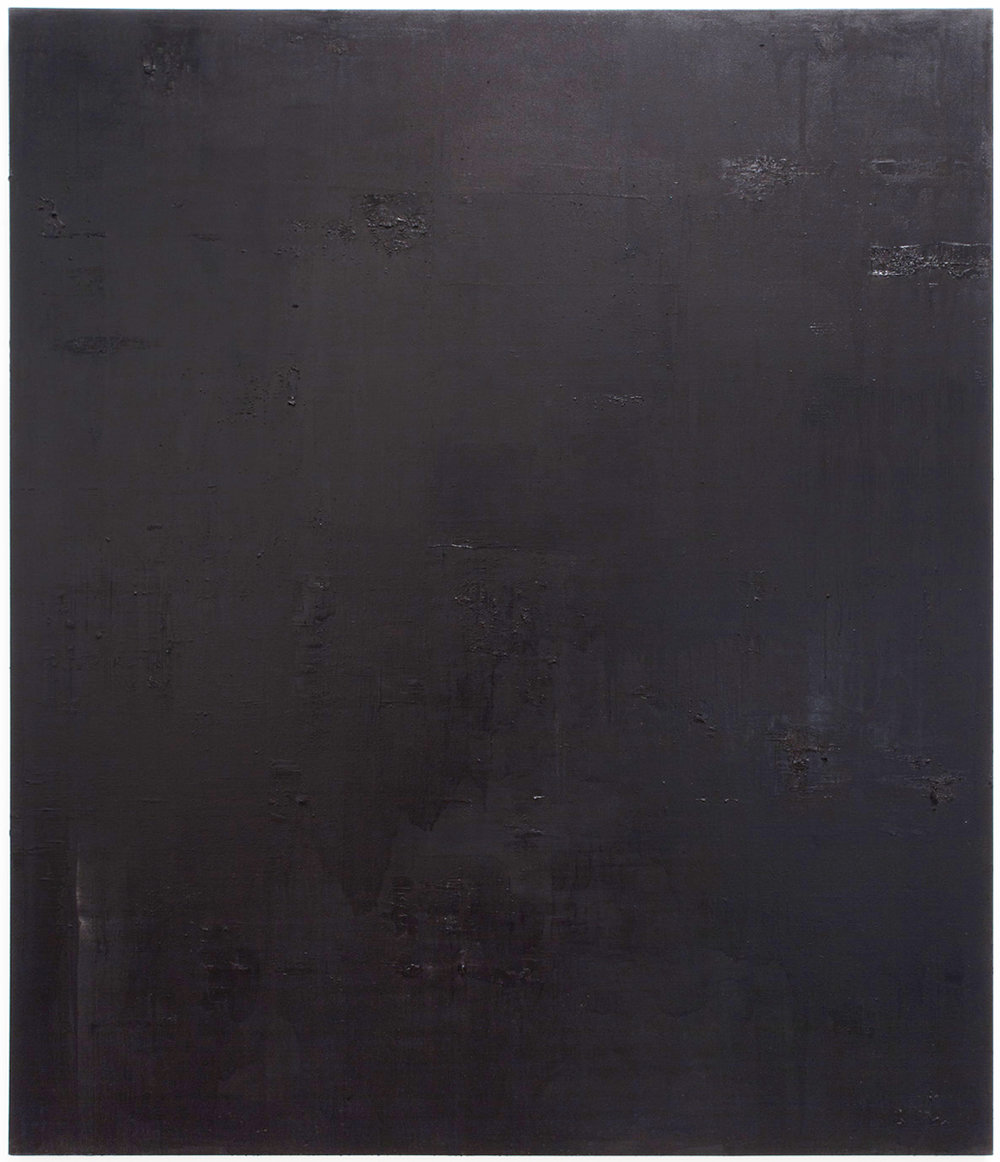 Untitled black monochrome painting (5.10.PBk9.CI77267/PBk11.Fe3O4) from the Frequency10. series. Oil, grit, graphite on canvas, 213.36cm x 182.88cm (84 inches x 72 inches), 2016-2017.