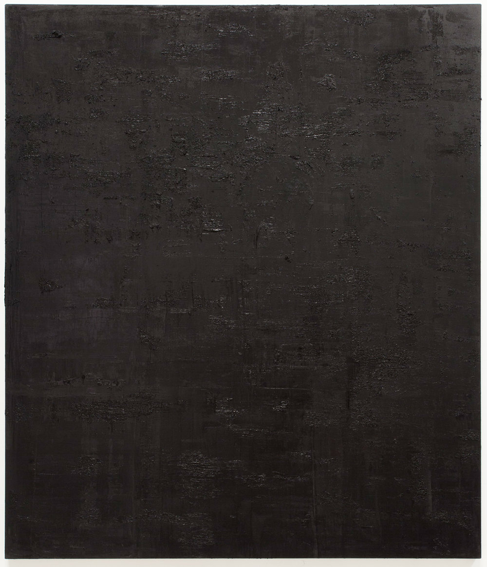 Untitled black pigment painting (7.10.PBk9.CI77267/PBk11.Fe3O4) from the Frequency10. series. Oil, grit, graphite on canvas, 213.36cm x 182.88cm (84 inches x 72 inches), 2016-2017.