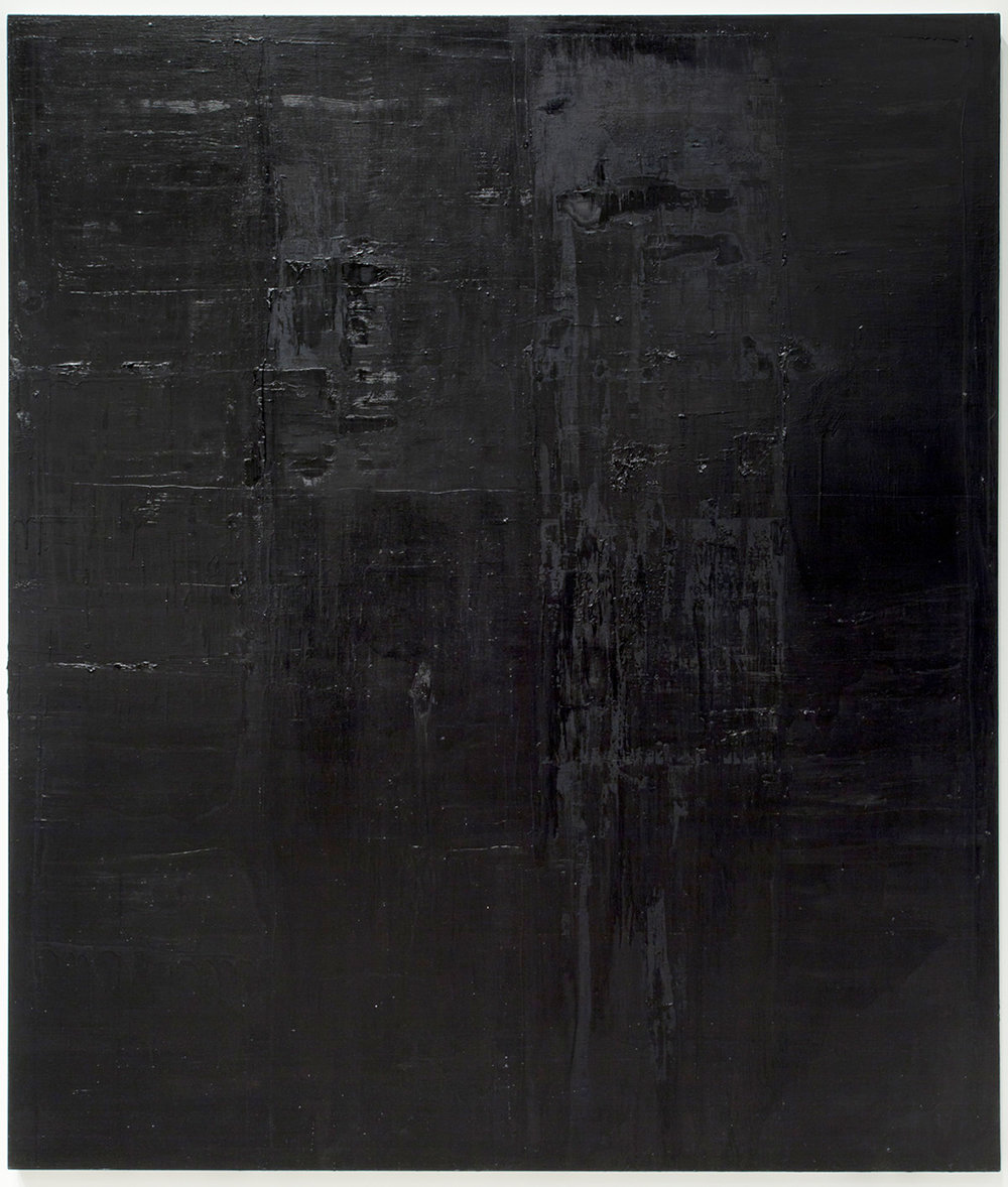 Untitled black monochrome painting (10.10.PBk9.CI77267/PBk11.Fe3O4) from the Frequency10. series. Oil, grit, graphite on canvas, 213.36cm x 182.88cm (84 inches x 72 inches), 2016-2017.