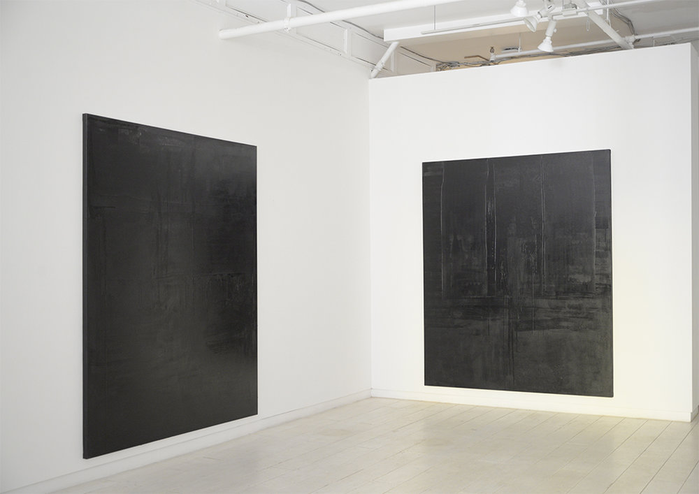 Access Gallery, 2017. Untitled black monochrome paintings (1+2.10.PBk9.CI77267/PBk11.Fe3O4) from The Frequency10. series. Oil, grit, graphite on canvas, each 213.36cm x 182.88cm (84 inches x 72 inches)