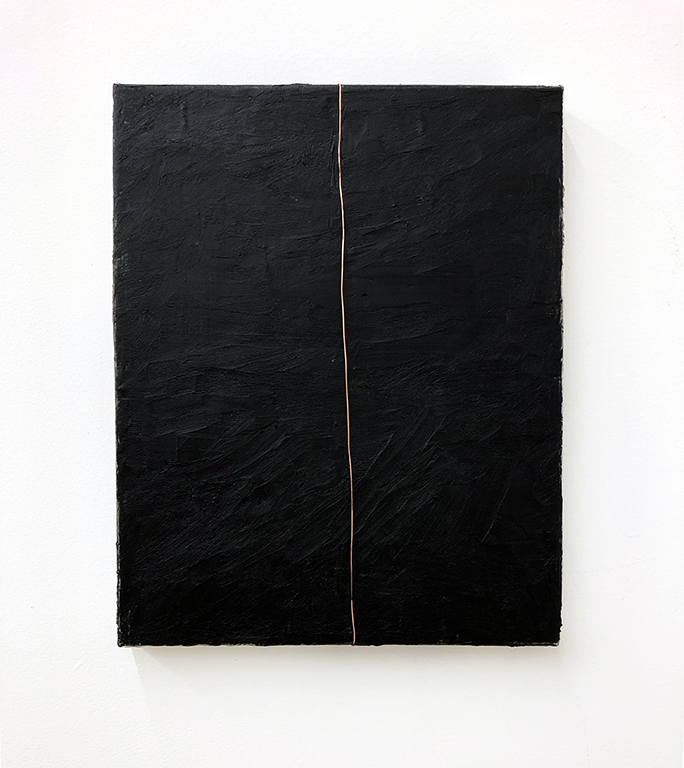 """Black painting with copper zip 1. Gouache, beeswax, copper on canvas, 14 x 11"""", 2019."""