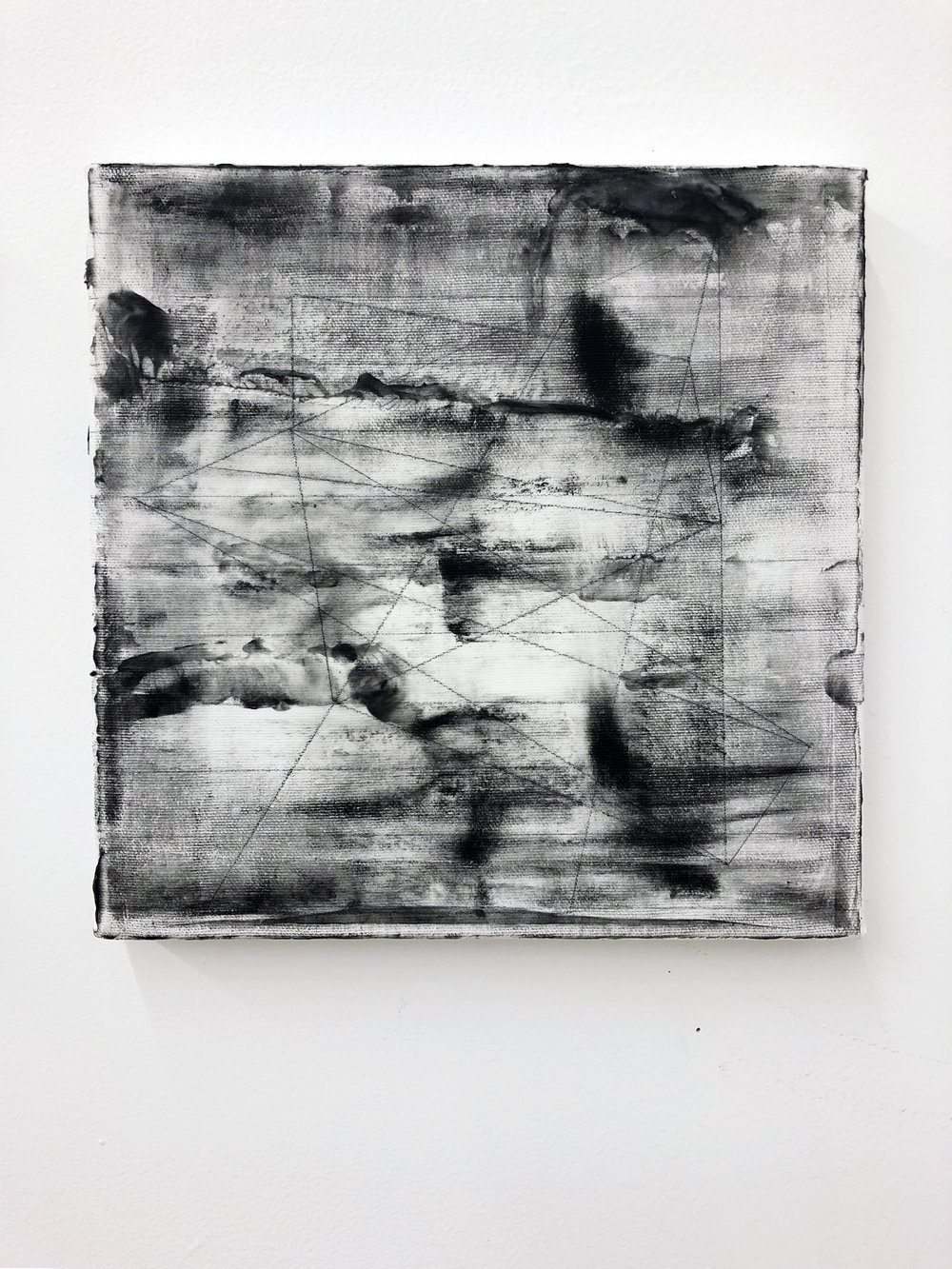 """Code painting 2 . Graphite, gouache, oil, beeswax. 10 x 10"""", 2018/2019."""