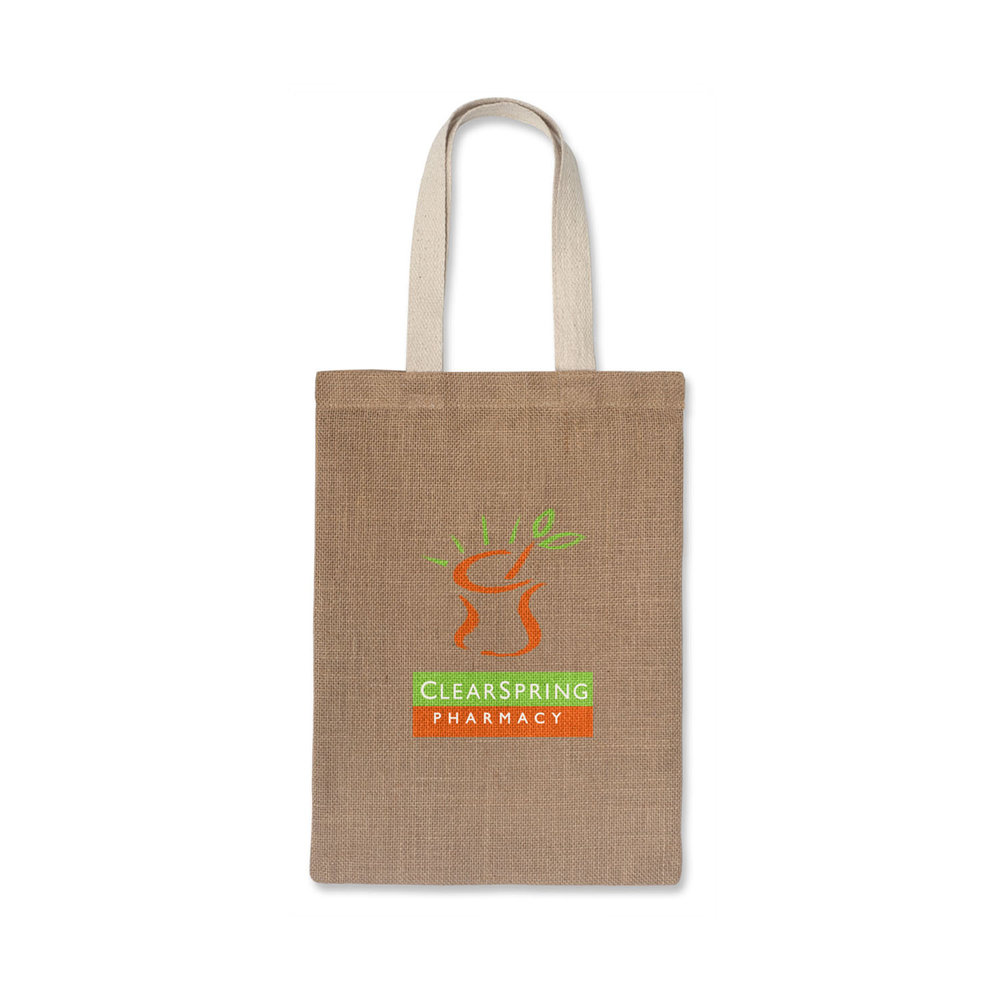 115e69f7b65221 ZETA JUTE TOTE BAG - Natural jute tote bag with strong unbleached cotton  handles.