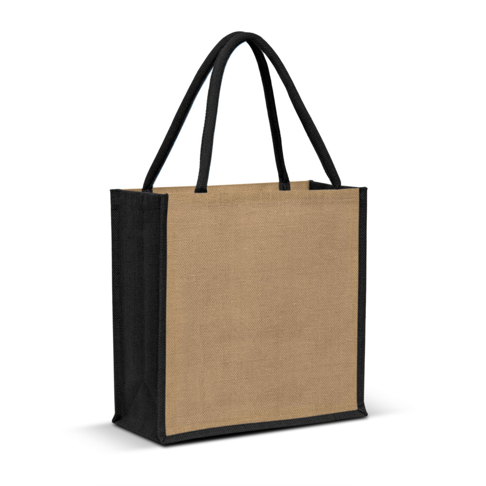47f6cb5031a201 LANZA JUTE TOTE BAG NATURAL & BLACK - Large laminated jute tote bag with  padded cotton