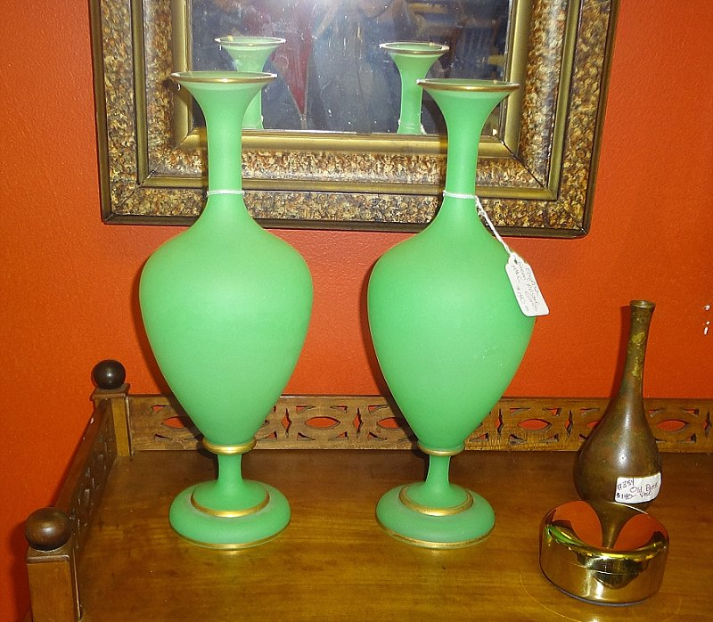 jade green vases at evolution home in alexandria