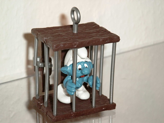 Blue man in prison, probably not for murdering a civilian.