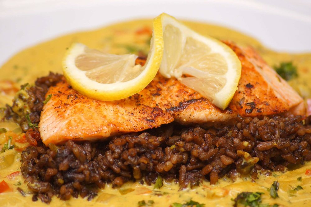 Black Mushroom Rice with Coconut Curry Sauce and Grilled Salmon.jpg