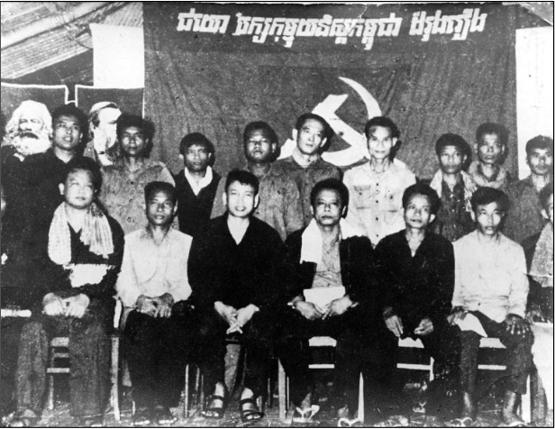 Khmer Rouge cadre, including Pol Pot (front, center) and several from the Northeast Zone, at a Party training session near Office 100