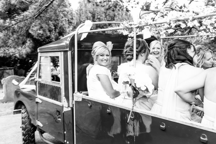 Choosing a venue close to your ceremony location means you can order a fun transport option which makes for some amazingly fun photos!  Photo Credit:  Nick Tucker Photography