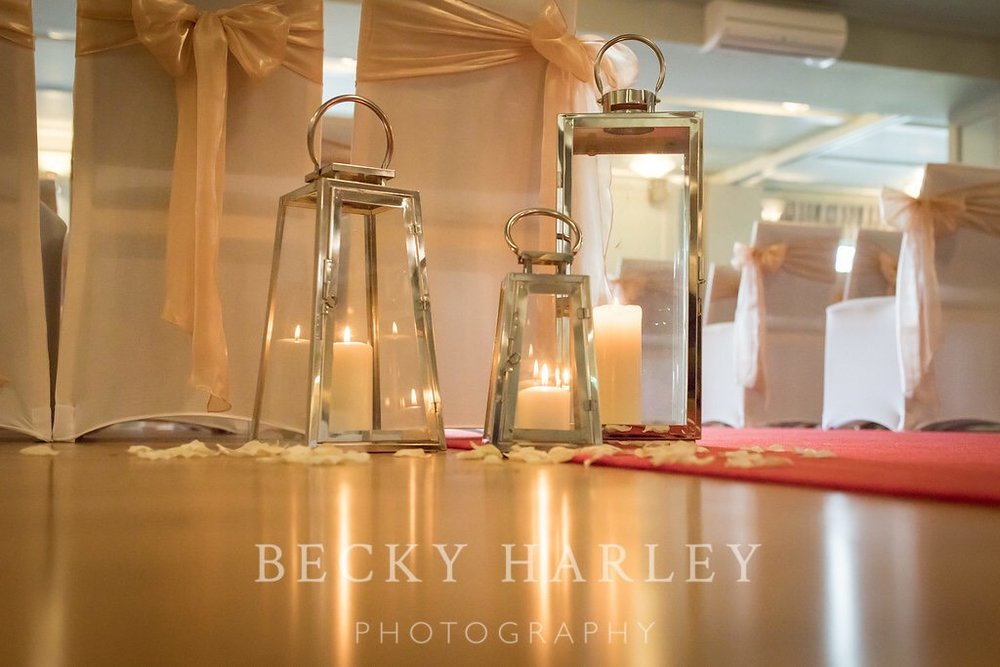 Wedding venue styling Hartfordshire lanterns