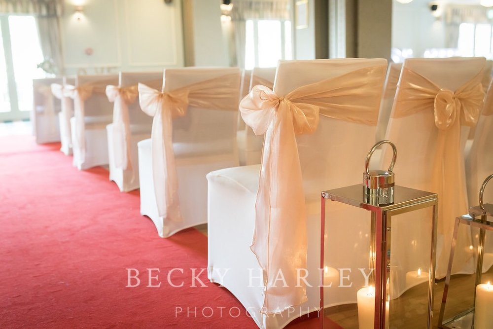 Wedding venue styling Hartfordshire chairs