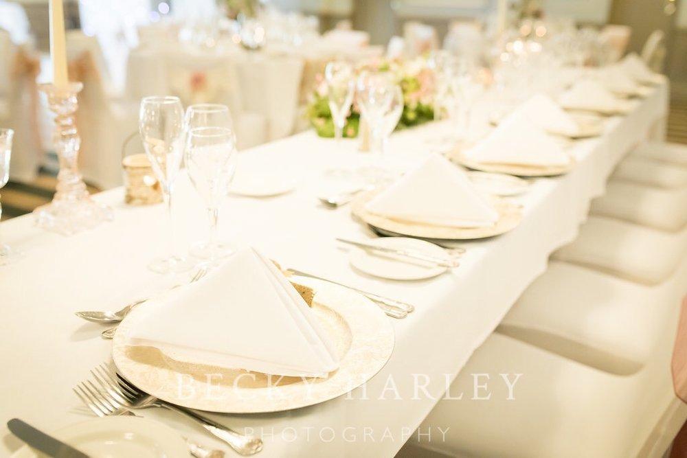 Wedding venue styling table setting hartfordshire