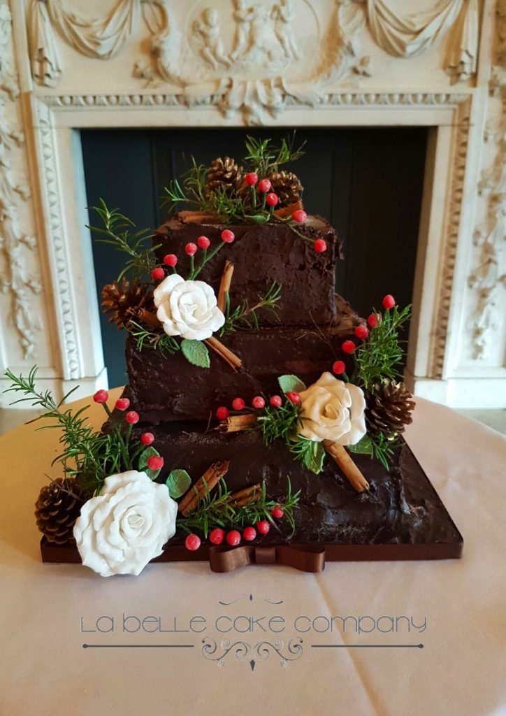 Winter wedding chocolate cake Hertfordshire