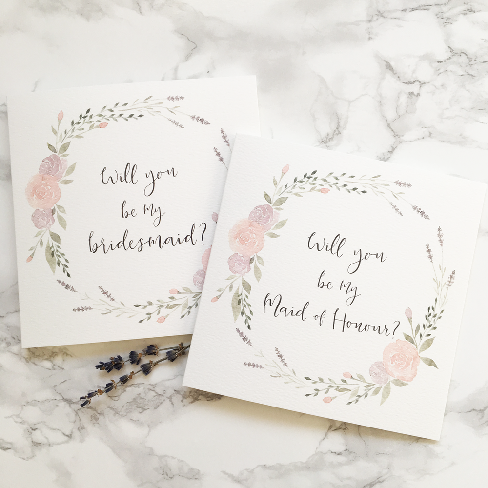 Gorgeous Will you be my bridesmaid Cards from Hertfordshire based  Olive & Millicent
