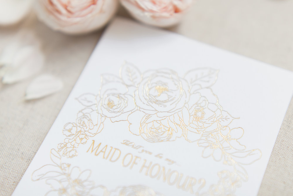 Will you be my Maid of honour card from Cambridgeshire based Peonies and Paperclips    Photo credit: BowtiE and Belle Photography