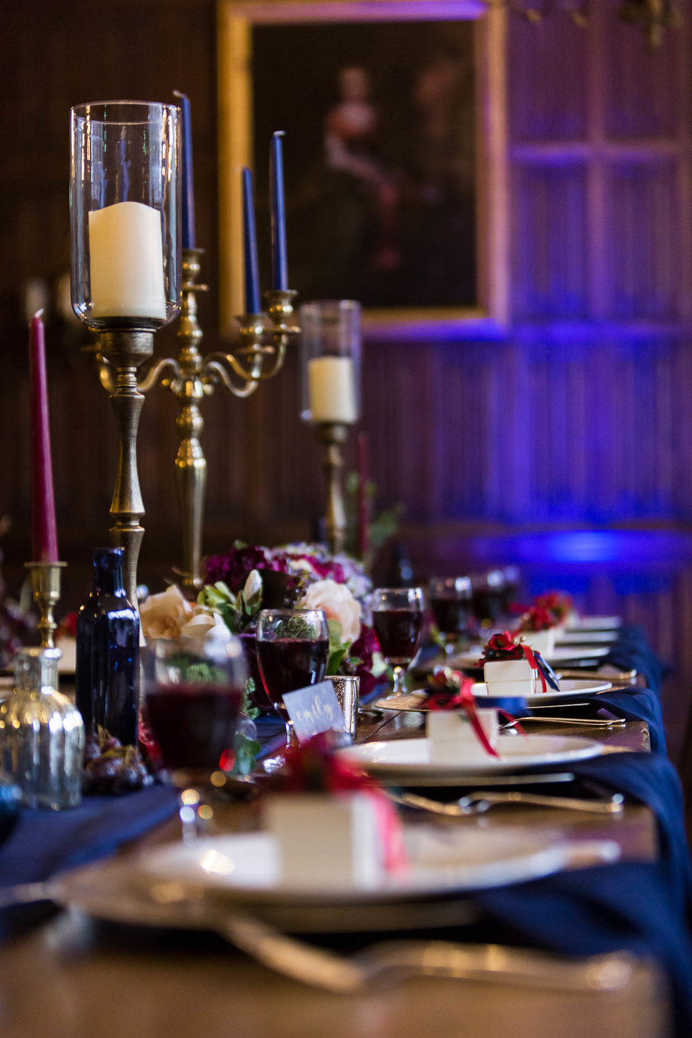 navy and red berry wedding table ideas hertfordshire
