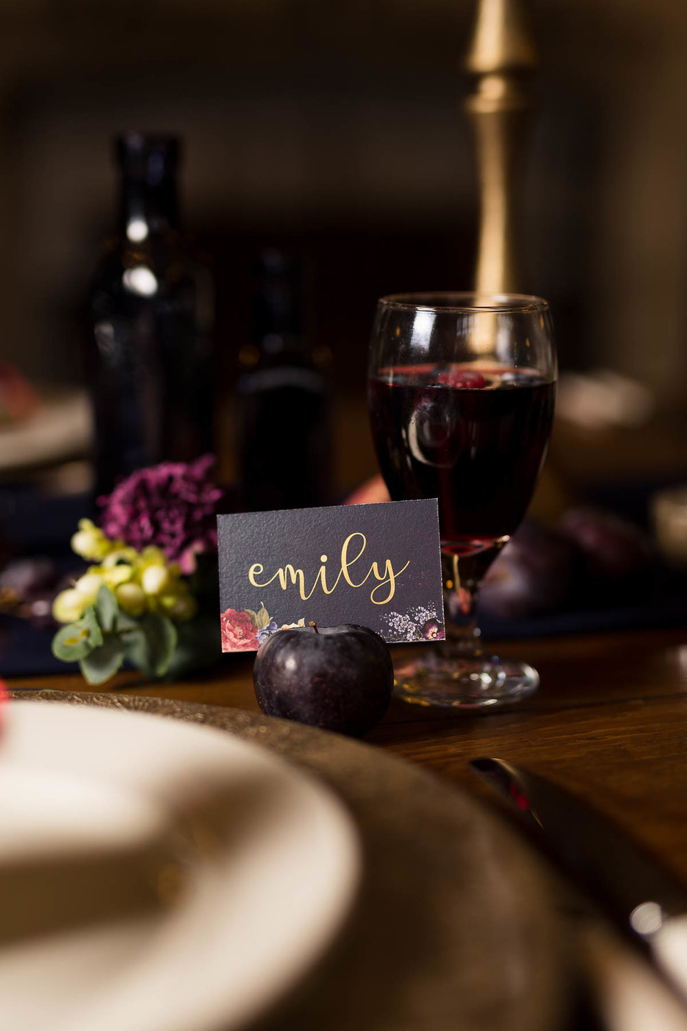 Red berry and navy place setting ideas hertfordshire weddings