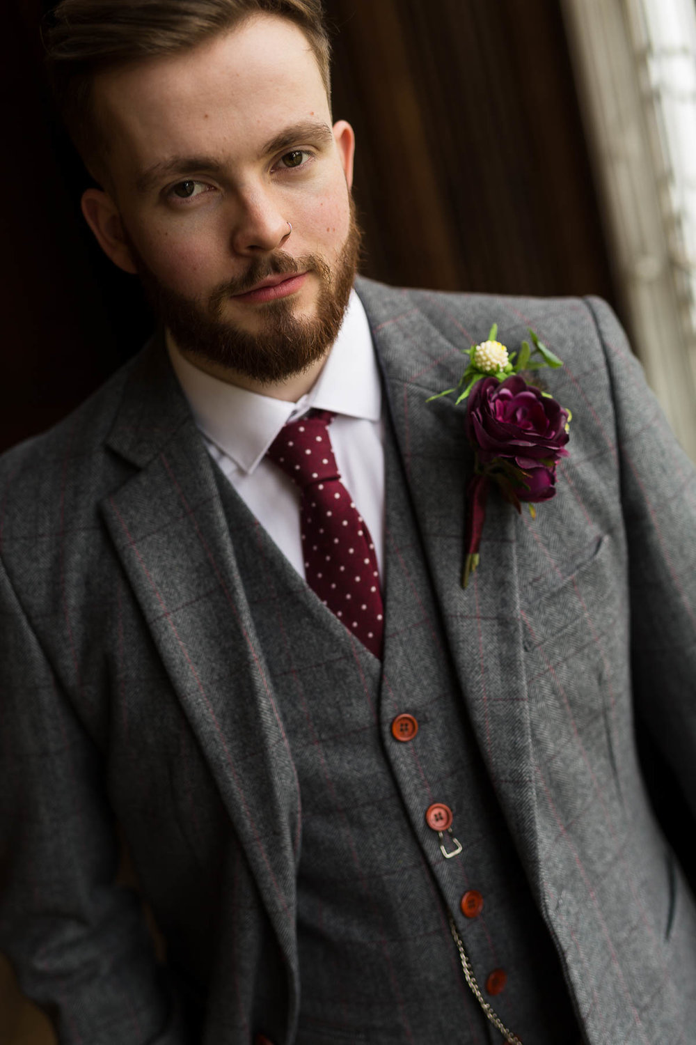 Josh Carr groom dressed by The Vintage Suit hire company