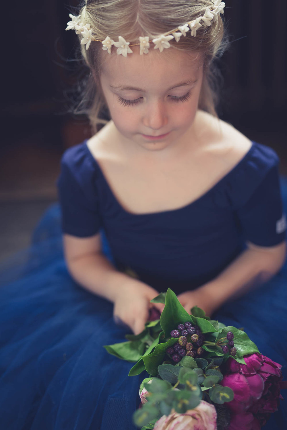 red berry and navy wedding ideas flower girl crown