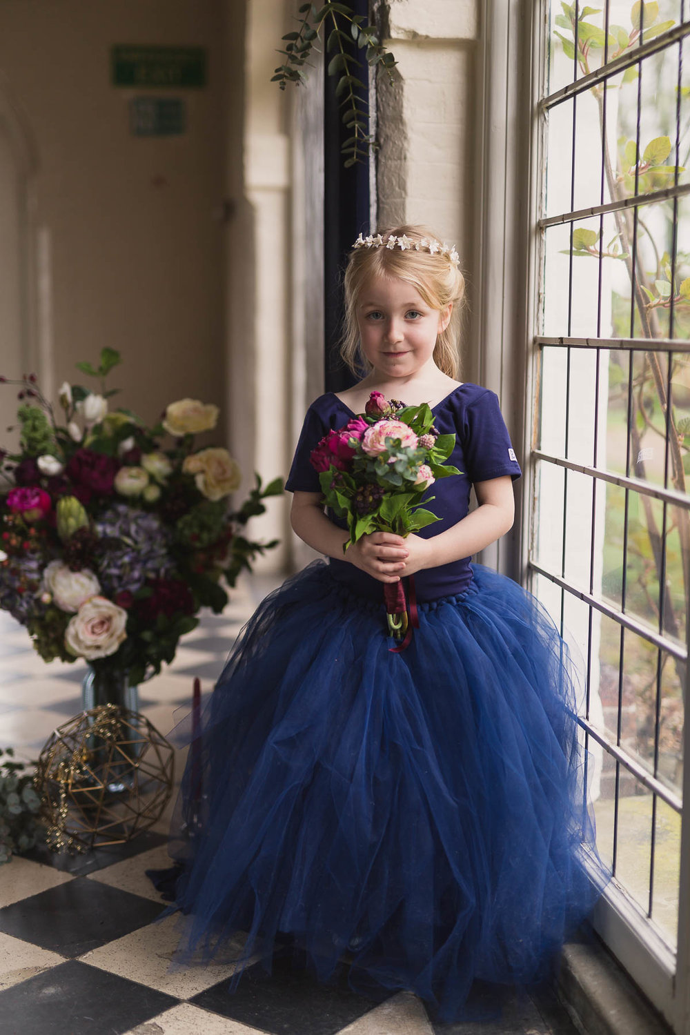 red berry and navy wedding ideas flower girl bridesmaid