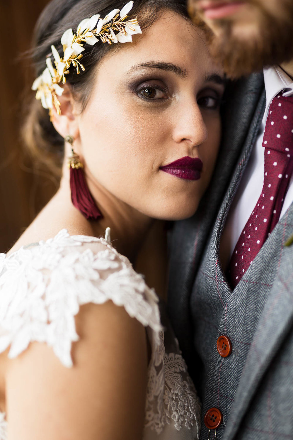 red berry and navy wedding inspiration bridal makeup and hair