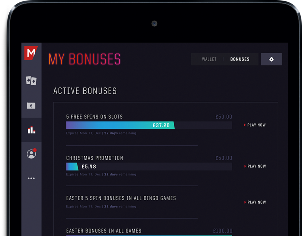 Personalised Promotions Promos, offers and bonuses are served to the player on arrival and bonus progress can be tracked through the performance dashboard.