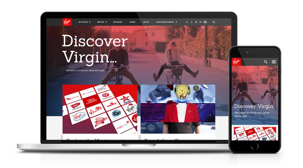 Discover Virgin landing page.