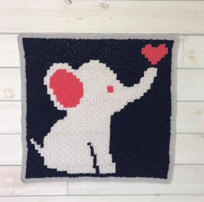 My Hobby Is Crochet: Free Crochet Pattern + Graph: Elephant C2C ... | 700x706
