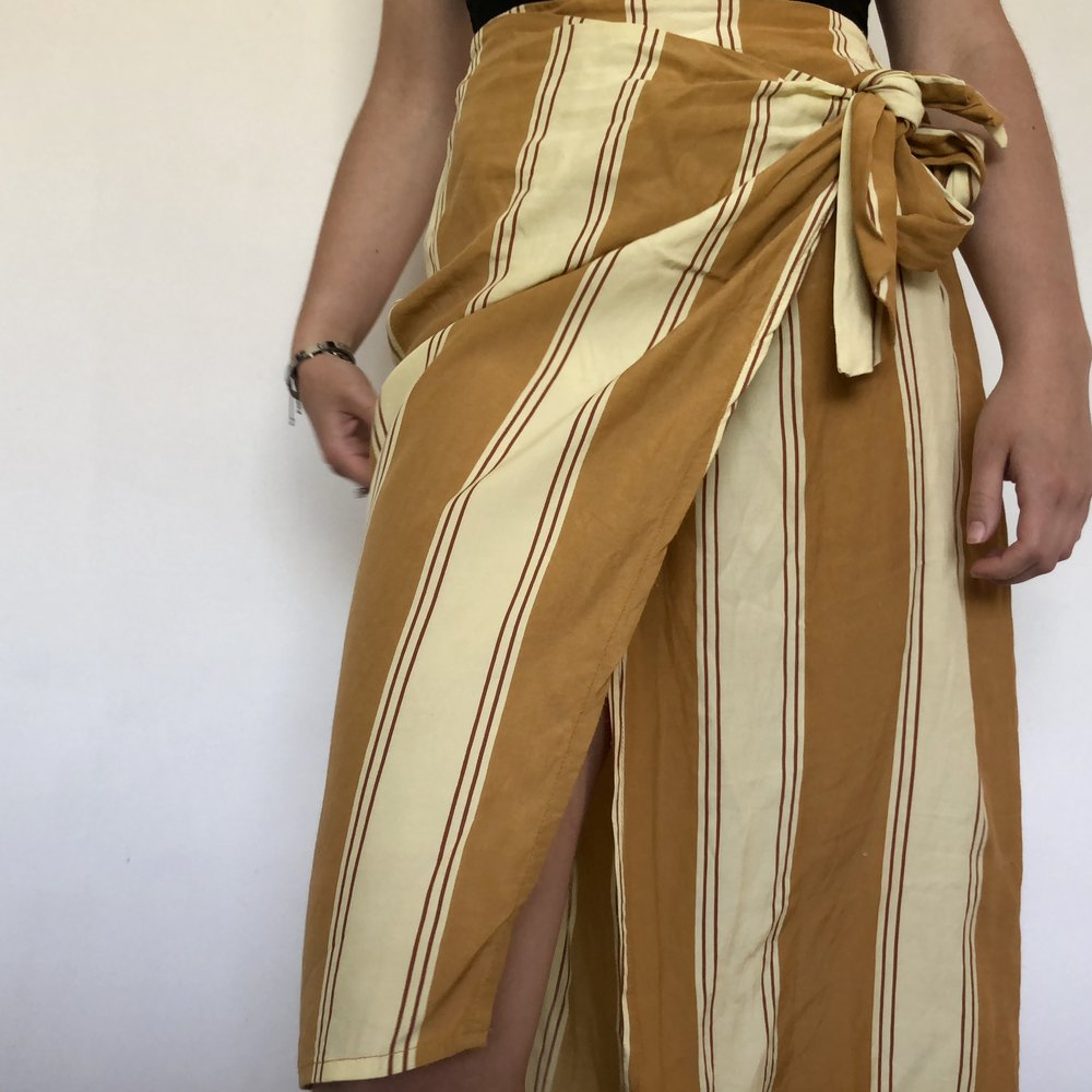 Mustard striped wrap skirt