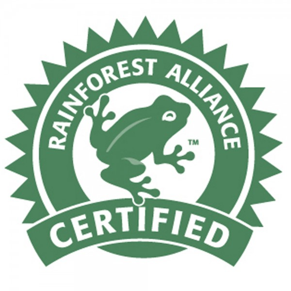 rainforest alliance certified - Most commonly associated with coffee but you can find this symbol on a wide range of products. Again this logo can only be used if the standards are met and for Rainforest Alliance the standards require environmental, social, and economic sustainability. Interestingly they use a frog as a frog is what is known as an 'indicator species, meaning that they are a symbol of environmental health, and they are found on every continent except Antarctica'.Who knew?