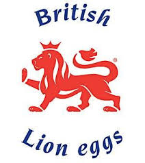 British Lion Eggs - This logo (mostly just the lion) found on the eggs themselves as well as the box mean that those eggs have been produced in accordance with the British Lion code of practice. 'The code covers the entire production chain and ensures strict food safety controls including the guarantee that all hens are vaccinated against Salmonella and a 'passport' system ensuring that all hens, eggs and feed are fully traceable.'It also guarantees that the eggs and hens are British.