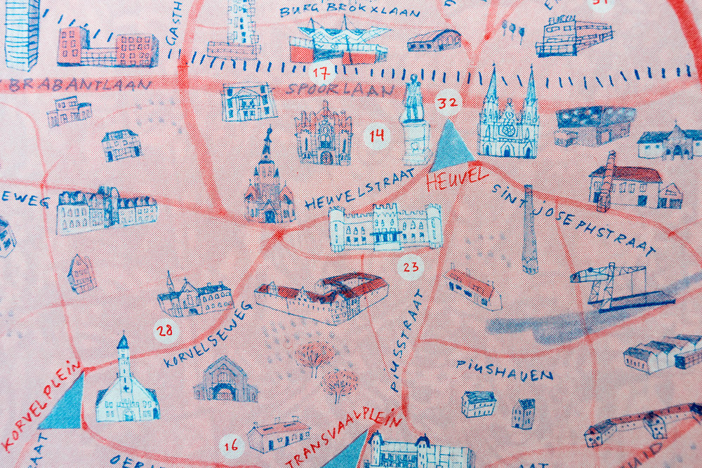 Detail of illustrated map by Marjolein Schalk