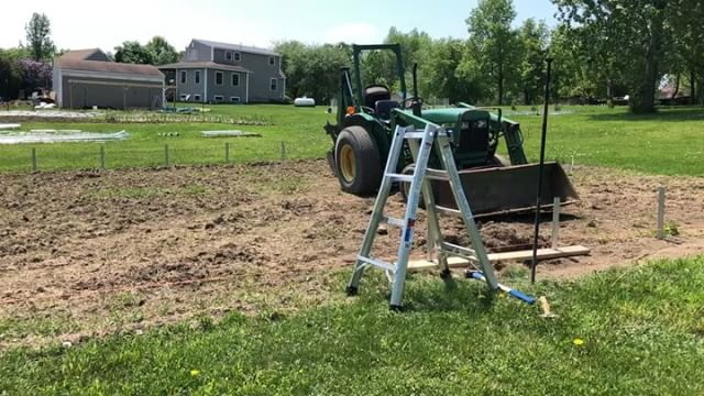 After some setbacks this spring, things are looking up...especially now that our first high tunnel frame went up today! It's taken a village - thanks to #allenholmfarm for letting me stash fruit plants in their cooler to keep them alive until planting, the old timer down the road for coming over and prepping the site with his tiller, @kbwoodcraft for meticulously measuring and installing all 38 ground posts, and Mike and Cameron from @vine_ripe_gh for bringing in some extra muscle, expertise, and quality jokes to get us here today (highly recommend them on all three counts). Also grateful for the guidance generously shared by many VT farmers throughout this process. Now all that's left is bed prep, planting, building end walls/roll-up sides, covering it with plastic, and doing it all over again for our second high tunnel next spring...! YEE-HAW!