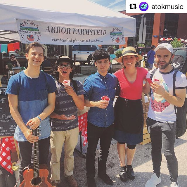 Wowza! We are loving all of the energy and good vibes at the #btvfarmersmarket - yesterday we had an awesome band from NYC play next to us. Snowcones for all!  _ #Repost @atokmusic ・・・ Thank you @arborfarmstead for the snow-cones! Cheers! #burlington #atokmusic