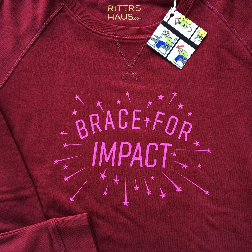 Brace for Impact, Burgundy, sweater
