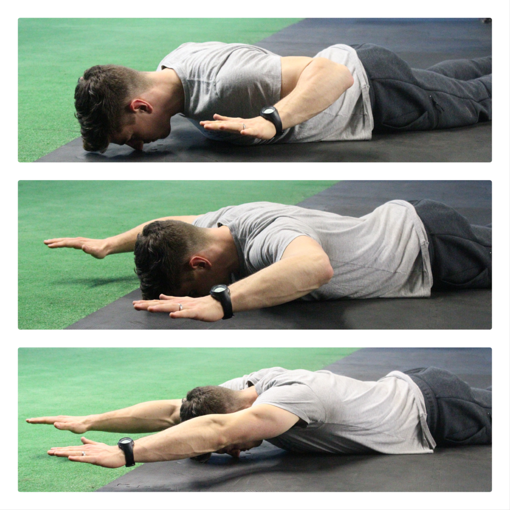 Exercise:  Face Down Overhead Reaches  15 reps 3 sets/day 5 days/Week