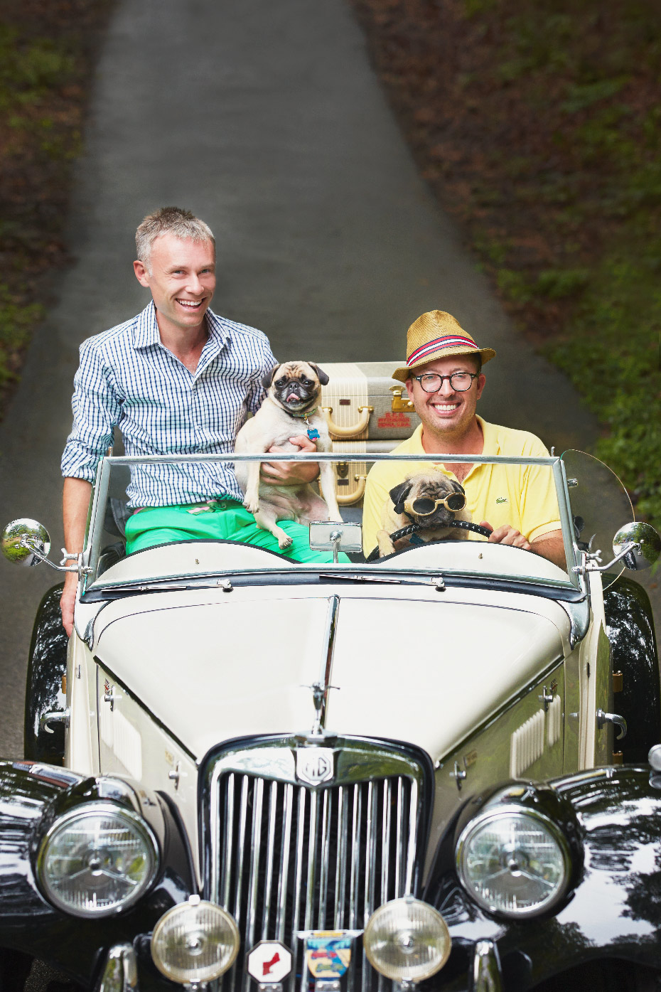 Stacey Van Berkel Photography I Mad Cap Cottage guys with pugs in vintage car I Jason Oliver Nixon & John Loecke I High Point, North Carolina