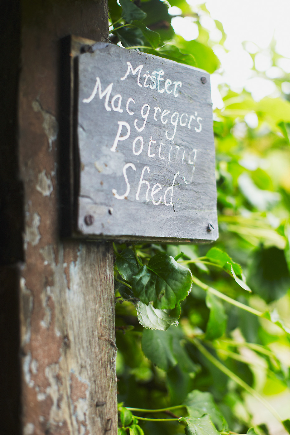 Stacey Van Berkel Photography I Mister Macgregor's Potting Shed sign I Gwaenynog, Wales I Beatrix Potter