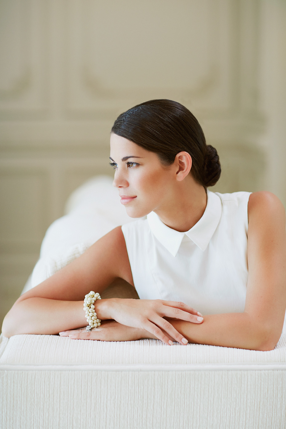 Stacey Van Berkel Photography I Young elegant woman dressed in white I Bernhardt Furniture