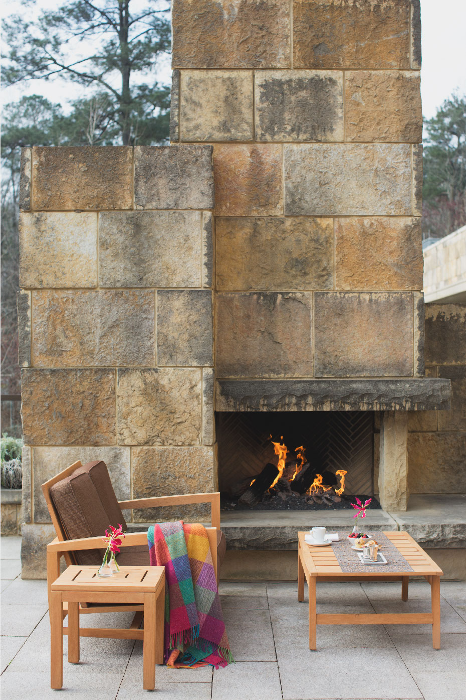 Stacey Van Berkel Photography I Outdoor fireplace with morning coffee and Avoca Ireland blanket I The Umstead Hotel and Spa I Cary, North Carolina