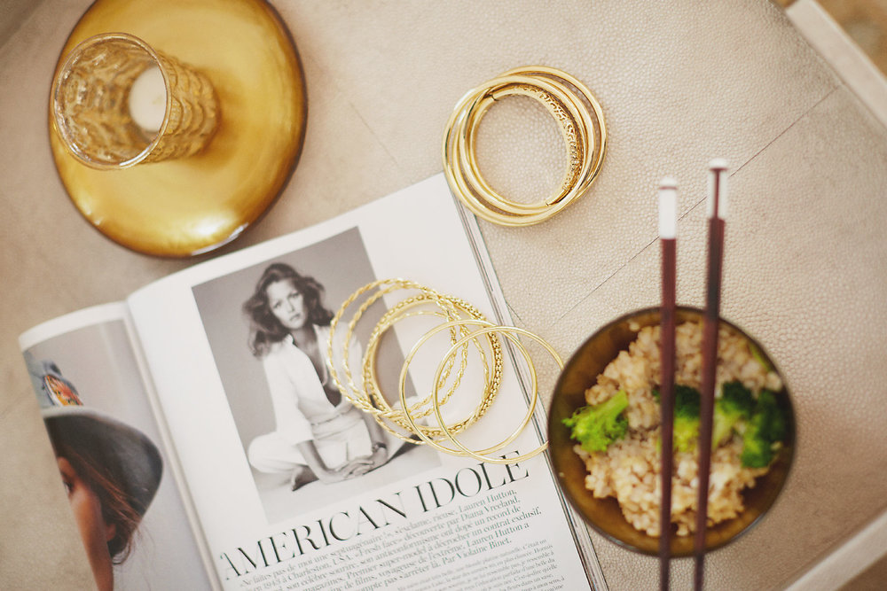 Stacey Van Berkel Photography I Overhead shot of rice bowl, magazine and jewelry I Bernhardt Furniture